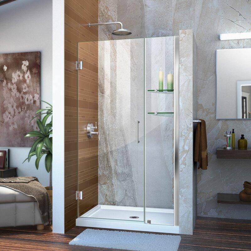 Dreamline Unidoor 36 X 72 Hinged Frameless Shower Door With