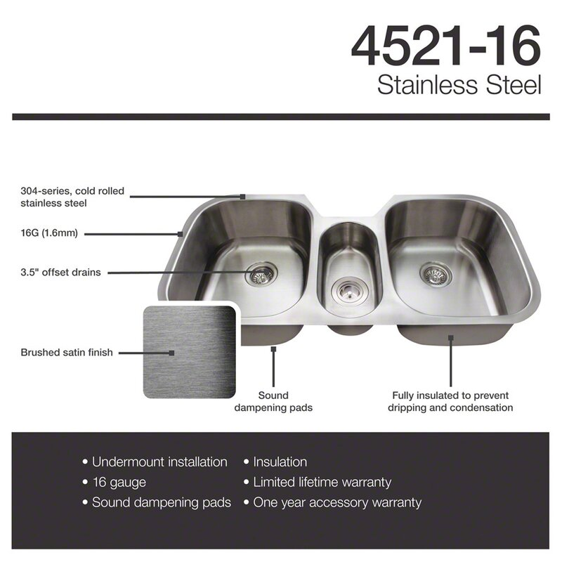 stainless steel 43   x 21   triple basin undermount kitchen sink mrdirect stainless steel 43   x 21   triple basin undermount kitchen      rh   wayfair com