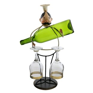 Luann Happy Chef Wine and Glass Holder 1 Bottle Tabletop Wine Rack