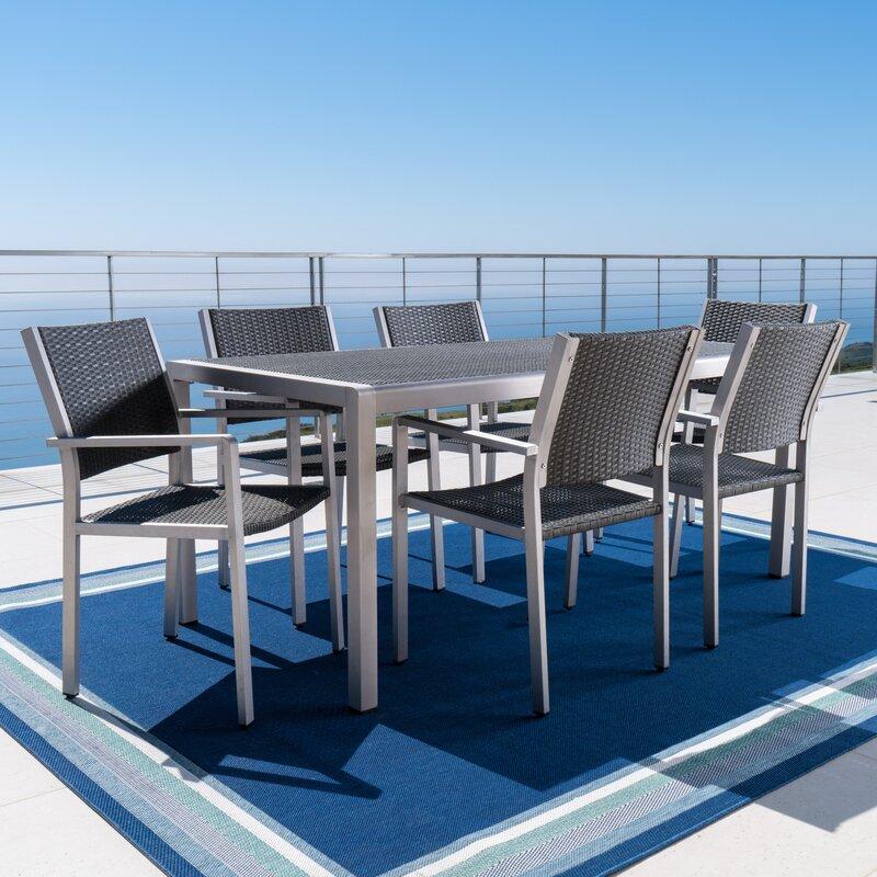 durbin 7 piece aluminum dining set reviews allmodern. Black Bedroom Furniture Sets. Home Design Ideas