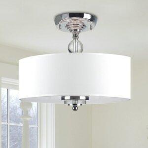 Crystal Decorated 3-Light Semi Flush Mount