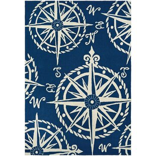 Beaufort Hand Hooked Navy Beige Indoor Outdoor Area Rug