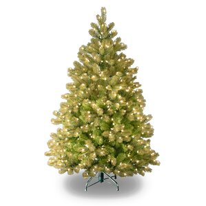 downswept douglas 45 green fir artificial christmas tree with 450 clear lights and stand - Full Artificial Christmas Trees