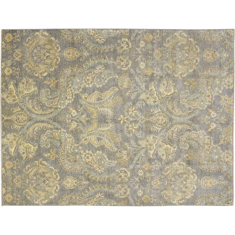 One Of A Kind Romona Hand Knotted Light Blue Wool Area Rug