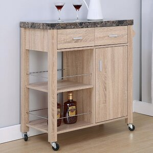 Lemire Storage Kitchen Cart with Marble T..