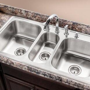 triple kitchen sinks you ll love wayfair rh wayfair com  triple basin kitchen sink stainless steel