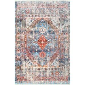 anuj blueorange area rug