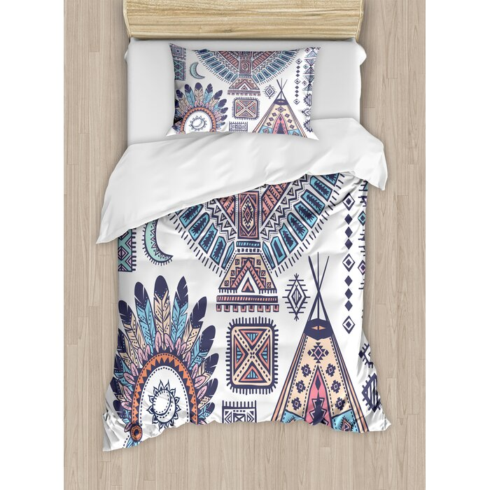 Tribal Indian Teepee Tent Eagle Symbol Moon Sun and Feather Chief Hat Print  Duvet Cover Set