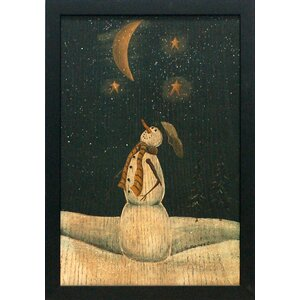'Silent Night' Framed Graphic Art Print with Glitter Flakes