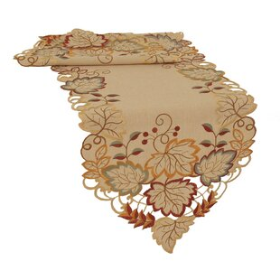 Harvest Verdure Embroidered Cutwork Fall Table Runner