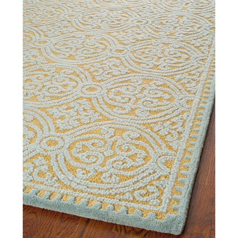 safavieh cambridge hand tufted blue gold area rug reviews. Black Bedroom Furniture Sets. Home Design Ideas