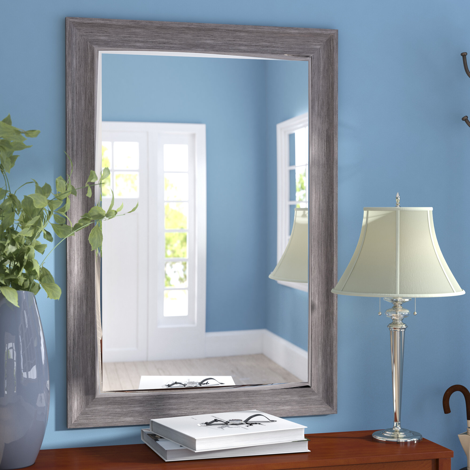 Three Posts Modesto Transitional Driftwood Wall Mirror U0026 Reviews | Wayfair