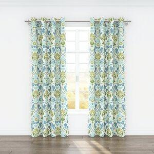 Sasha Nature/Floral Semi-Sheer Grommet Curtain Panels (Set of 2)