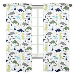 Mod Dinosaur Wildlife Semi Opaque Rod Pocket Curtain Panels Set Of 2