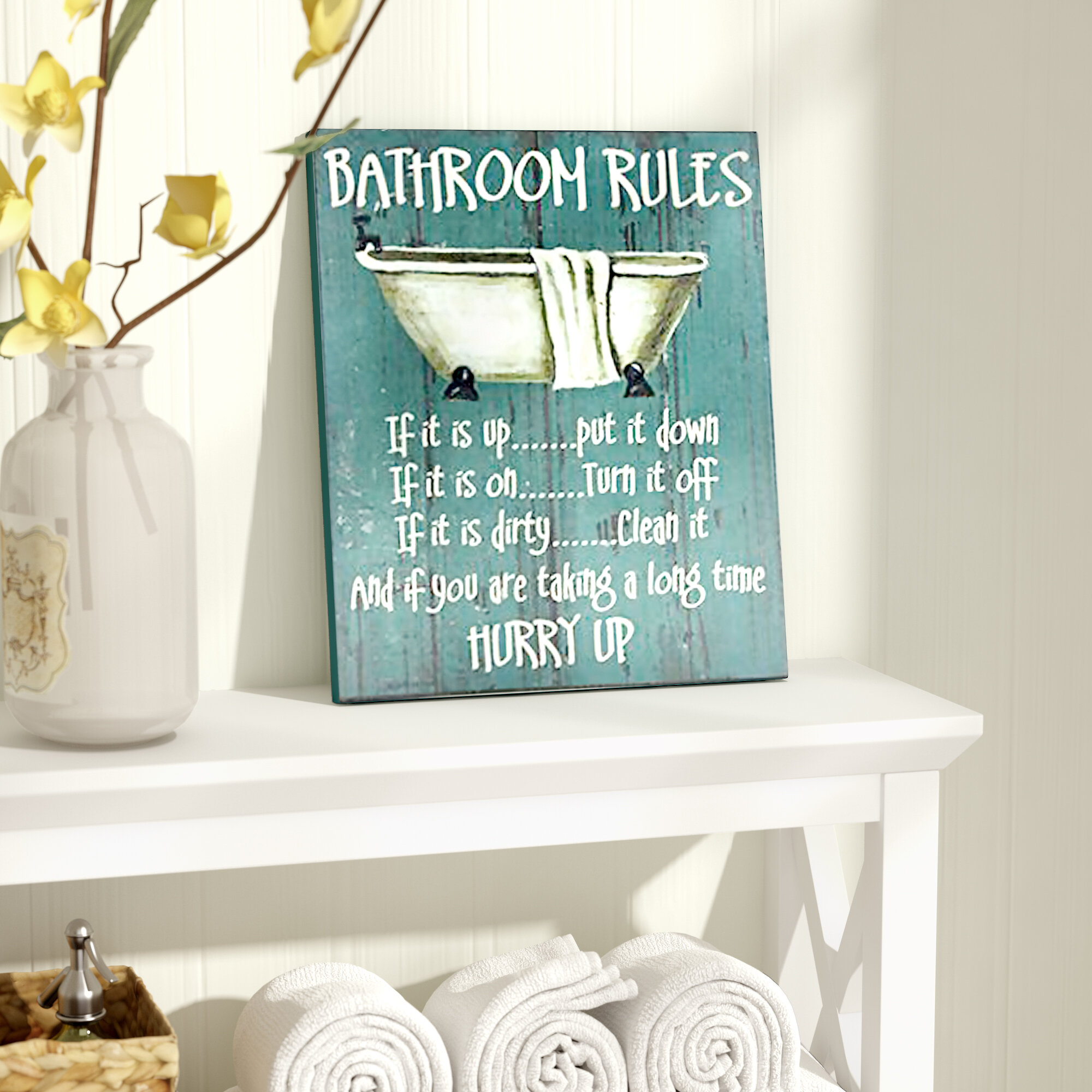 August grove bathroom rules textual art reviews wayfair for Wayfair home decor canada