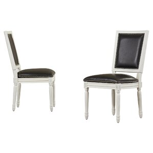Battle Side Chair in PU - Black (Set of 2) by House of Hampton