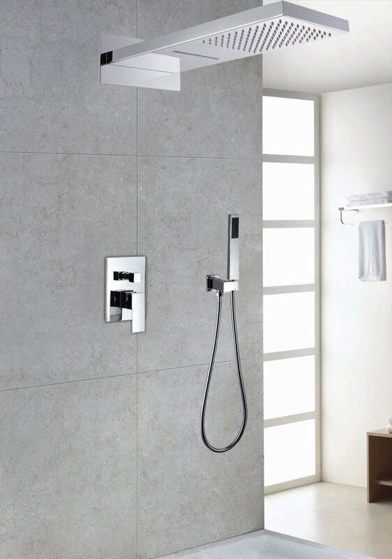 Contemporary/Modern Volume Control Rain Shower Head Complete Shower System