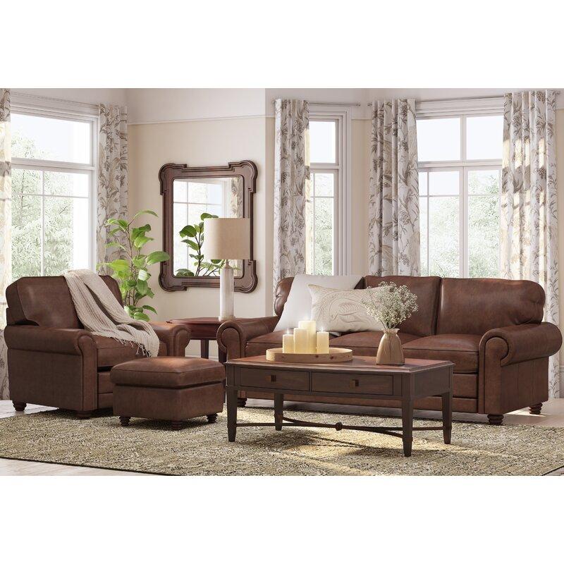 Canora Grey Lambdin Leather Sofa & Reviews | Wayfair