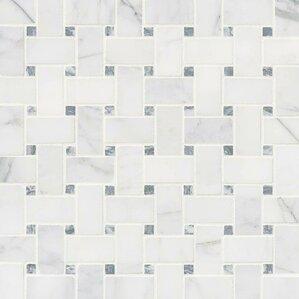 white tile floor. Calacatta Cressa Basketweave Honed Marble Mosaic Tile in White Outdoor You ll Love  Wayfair