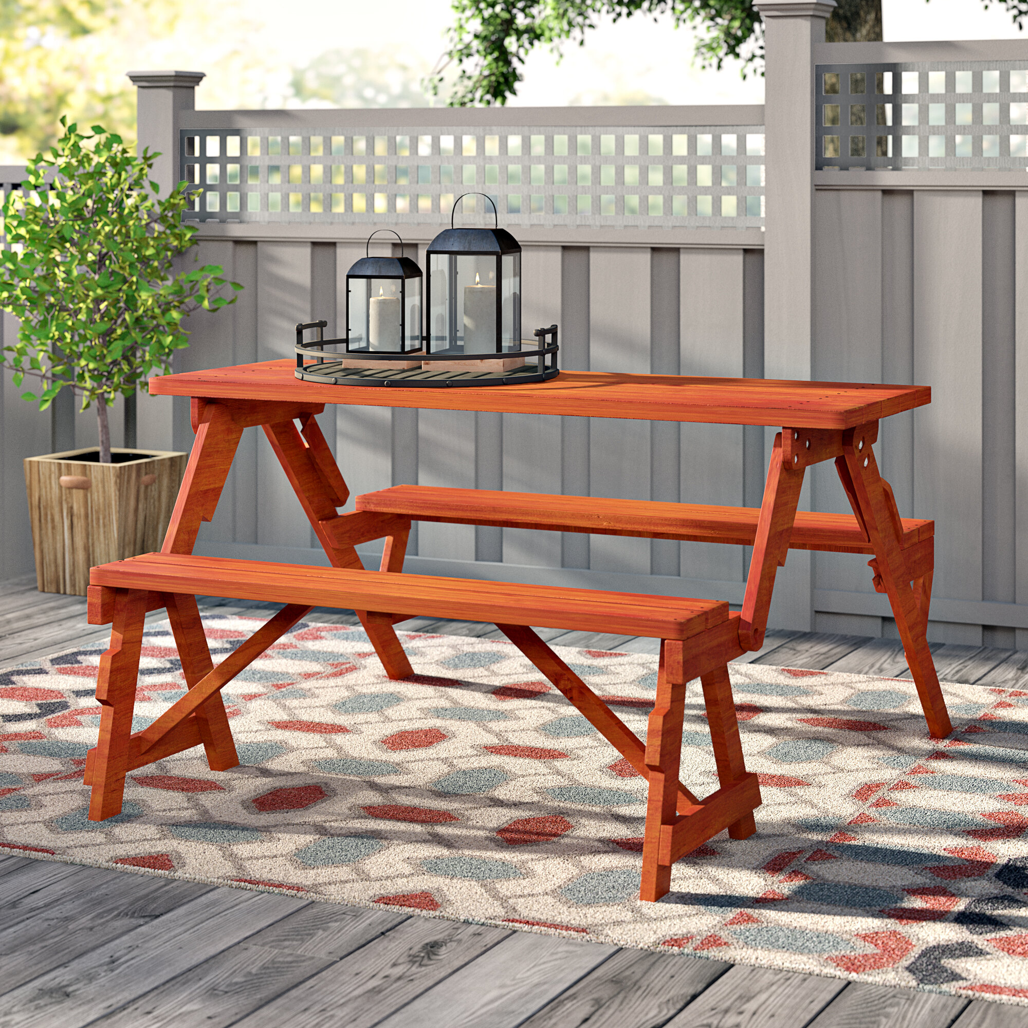 Andover Mills Dreiling Convertible Wood Picnic Table Garden Bench - How to stain a picnic table
