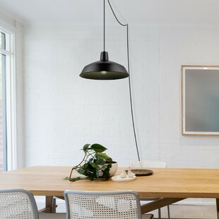 Plug in swag pendant light wayfair cornelia industrial warehouse 1 light bowl pendant aloadofball Image collections