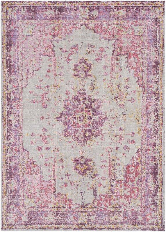 Kahina Vintage Distressed Oriental Pink Area Rug