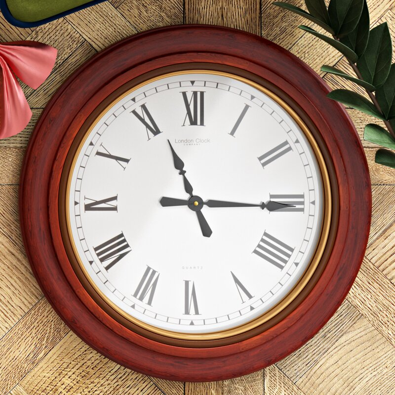 London Clock Company Traditional 54cm Oak Wood Wall Clock ...