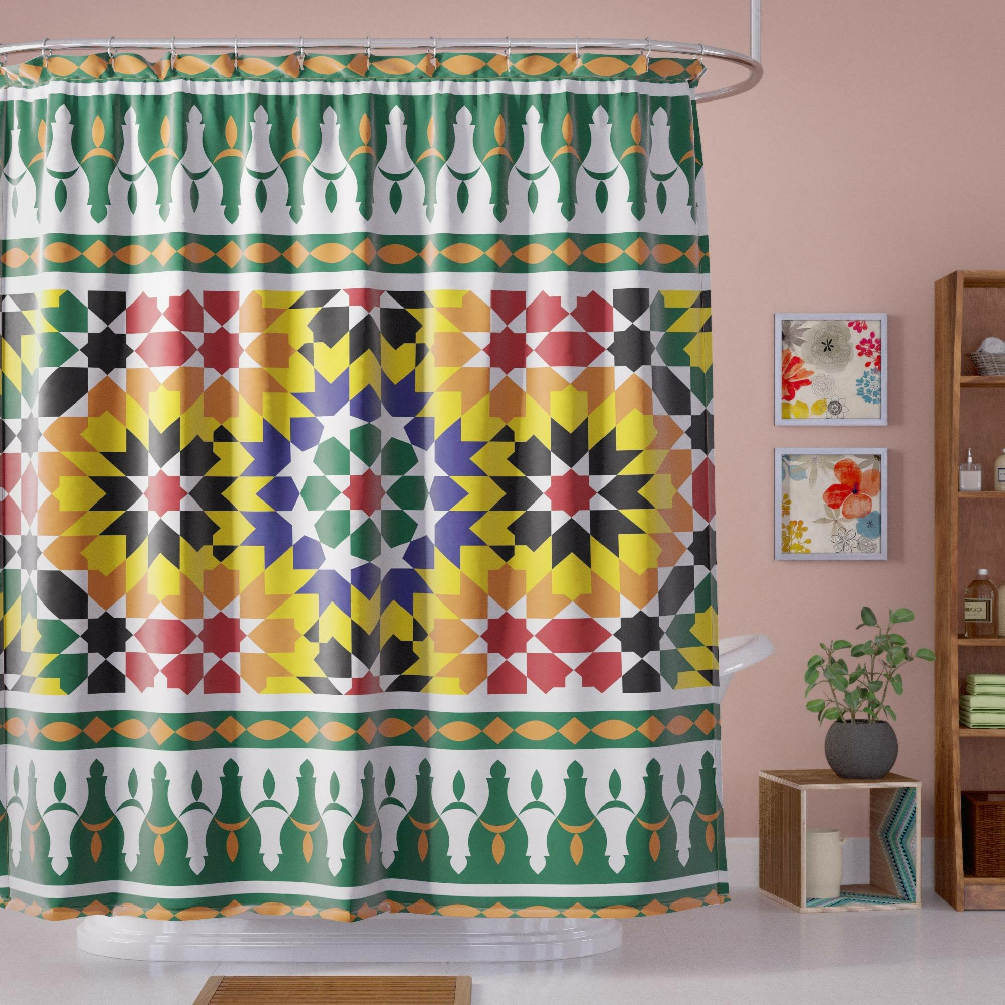 Bloomsbury Market Atkinson Vibrant African Pattern Shower Curtain