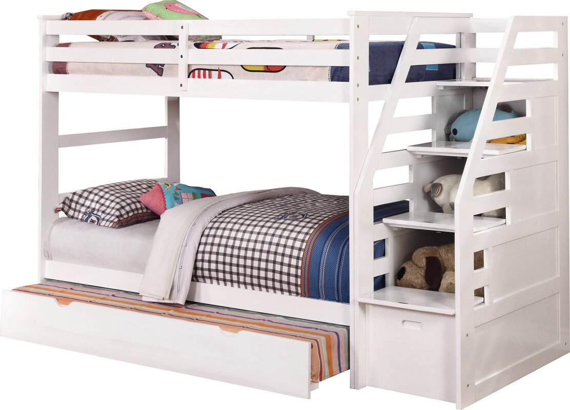 Wildon Home Cosmo Twin over Twin Bunk Bed with Trundle and Storage
