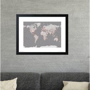 Framed world map wayfair world map orange framed graphic art print gumiabroncs