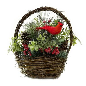 Christmas Decoration Cardinal with Berries and Foliage Floral Arrangement in Twig Basket