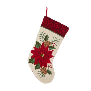 Hooked Poinsettia Stocking