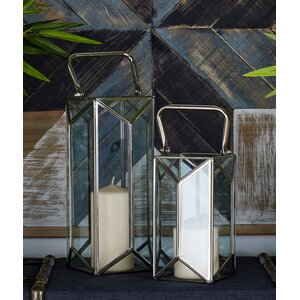 2 Piece Glass and Metal Lantern Set
