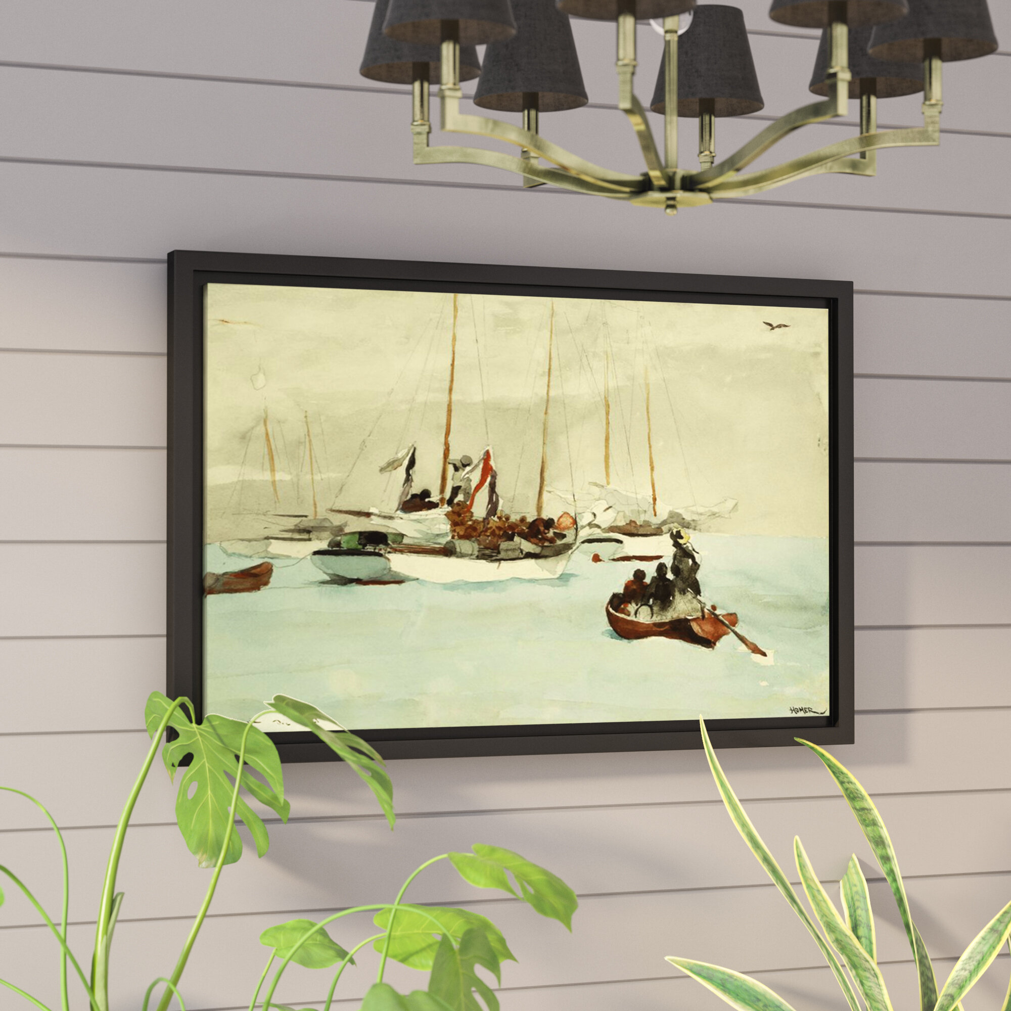 Breakwater Bay Schooners at Anchor Key West 1903 Framed Painting ...