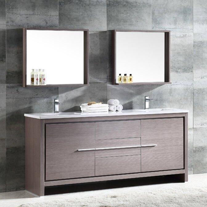 Fresca Trieste Allier 72 Double Bathroom Vanity Set With Mirror