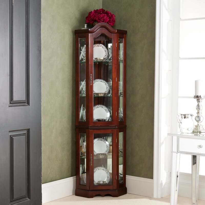 Red Barrel Studio Glacier Lighted Corner Curio Cabinet & Reviews ...