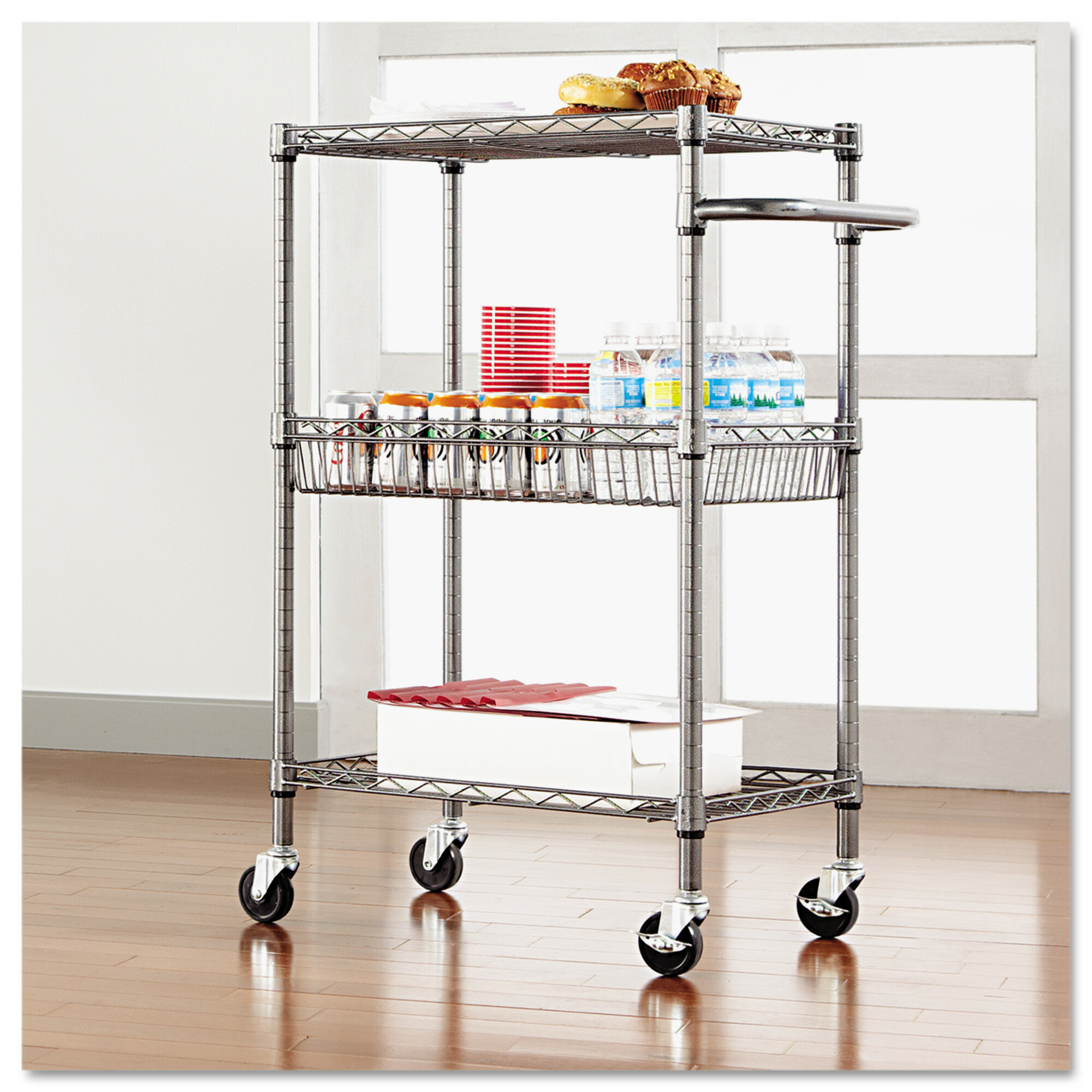 Three Tier Wire Cart With Basket