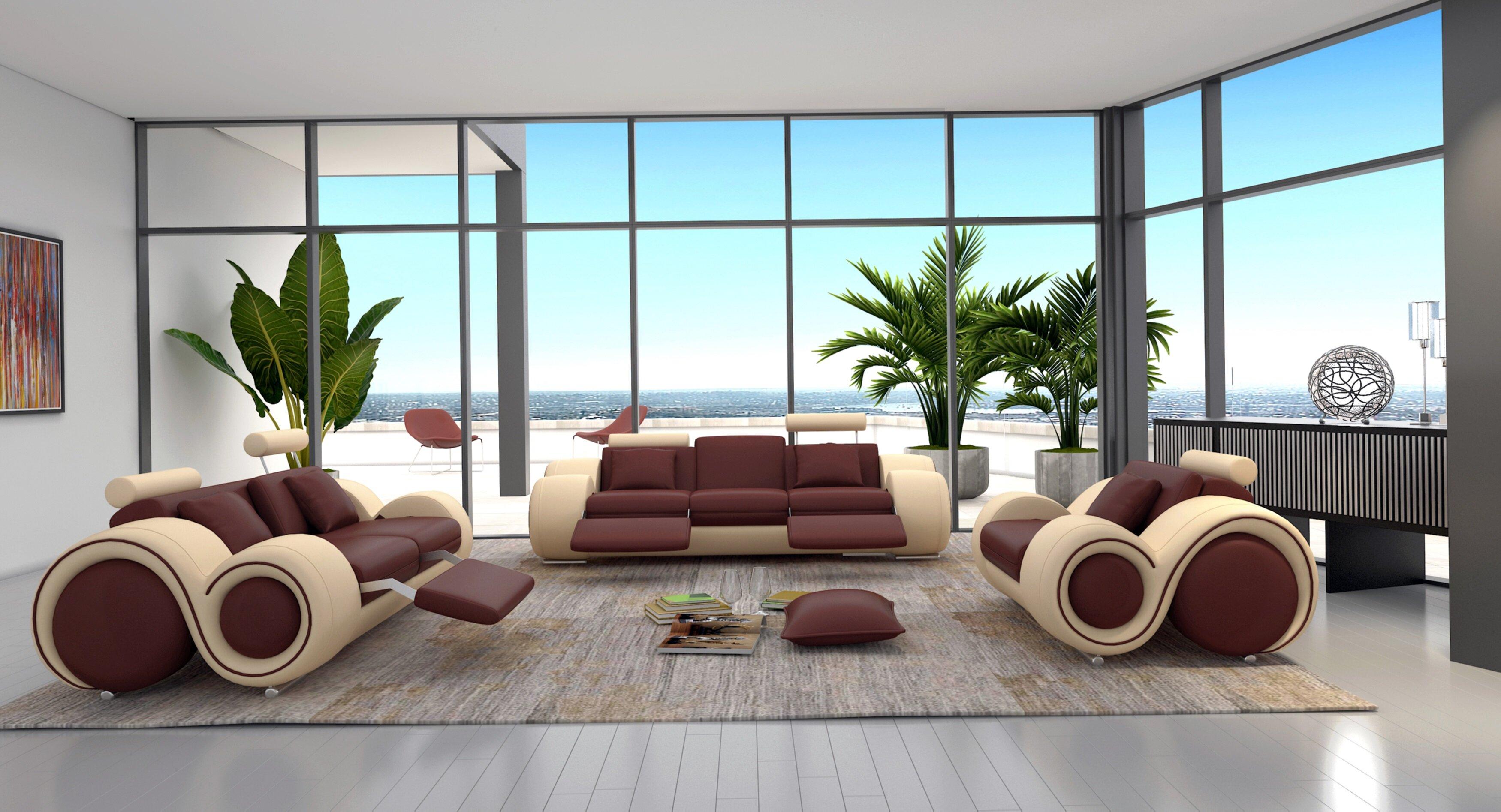 Orren Ellis Behr 3 Piece Leather Living Room Set & Reviews | Wayfair