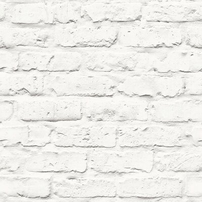 Turn on the Brights Halpin Faux Industrial Chic 32.97' x 20.8 Brick Wallpaper Roll Color: White