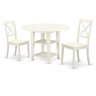 Tyshawn 3 Piece Drop Leaf Breakfast Nook Solid Wood Dining Set Design