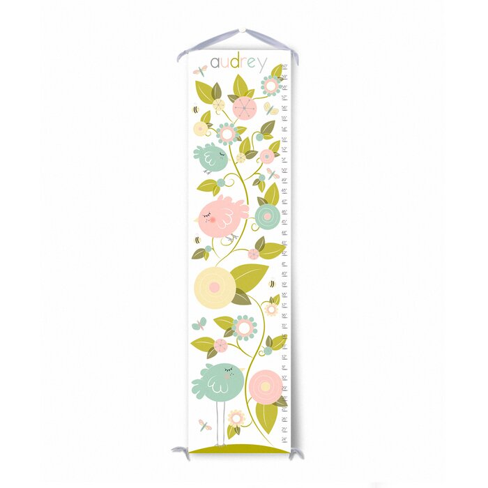 Finny And Zook Birds In Garden Personalized Canvas Growth Chart