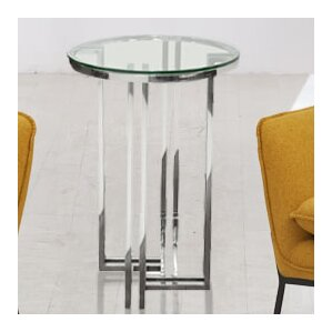 Fletcher Round Polished Stainless Steel End Table by Rosdorf Park