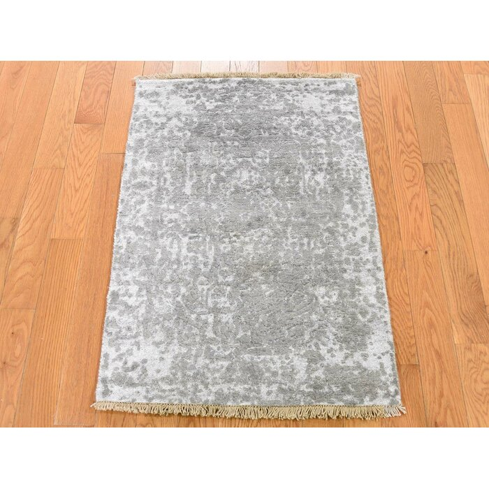One Of A Kind Ottawa Broken Oriental Hand Knotted 2 X 3 Wool Silk Ivory Grey Area Rug