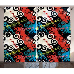 Adrianna Psychedelic Graphic Print Text Semi Sheer Rod Pocket Curtain Panels Set Of 2