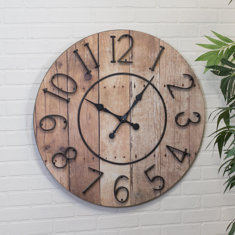 Gracie Oaks Oversized Wieland 32 Farmhouse Wooden Wall Clock Wayfair