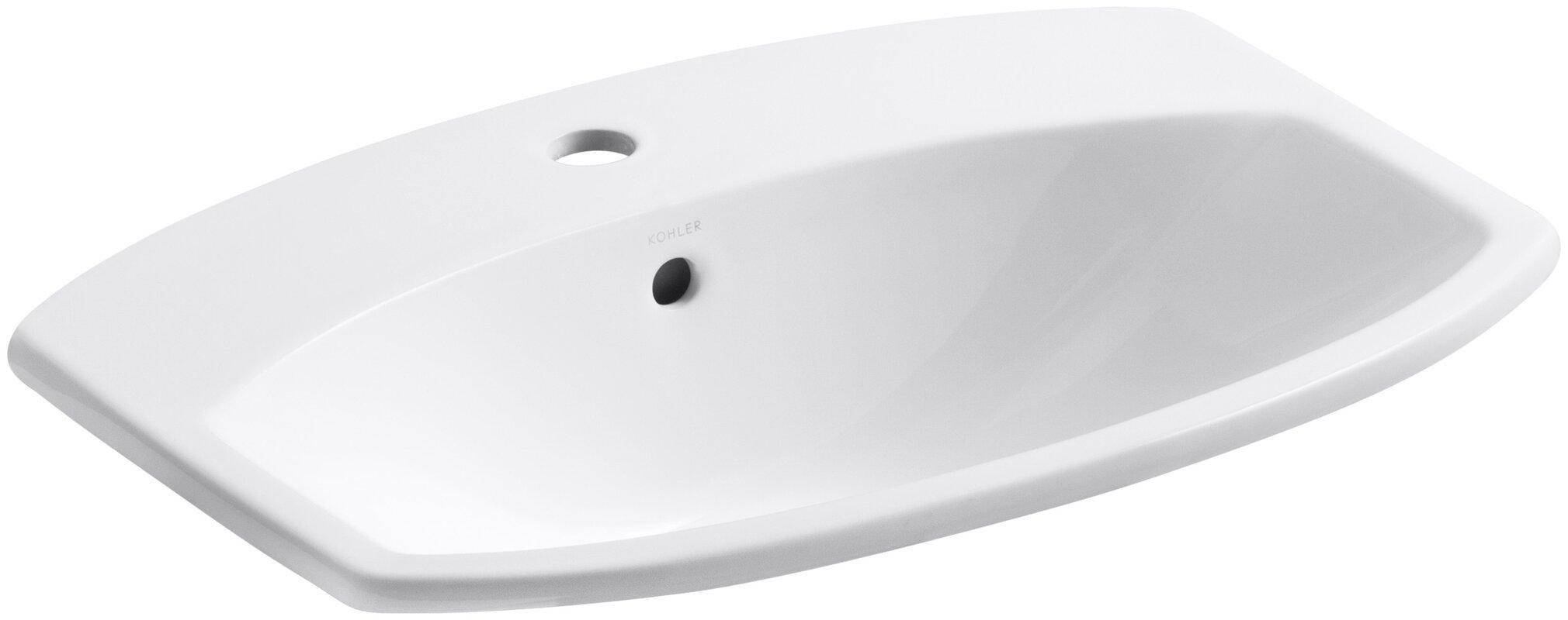Cimarron Ceramic Rectangular Drop In Bathroom Sink With