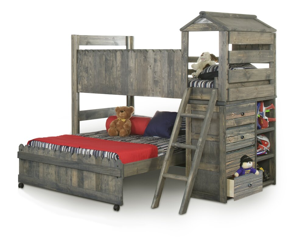 Allanton Twin Over Full L Shaped Bunk Beds With Ladder