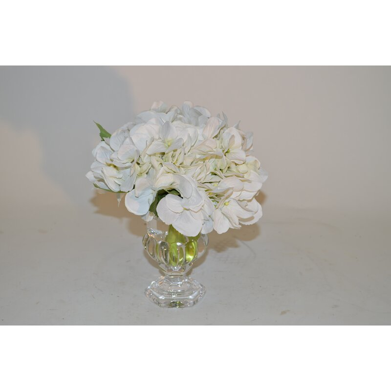 The French Bee Hydrangeas In Glass Footed Vase Wayfair