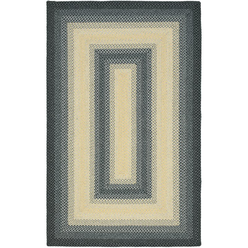 August Grove Georgina Hand-Braided Black/Grey Area Rug, Size: Rectangle 8 x 10
