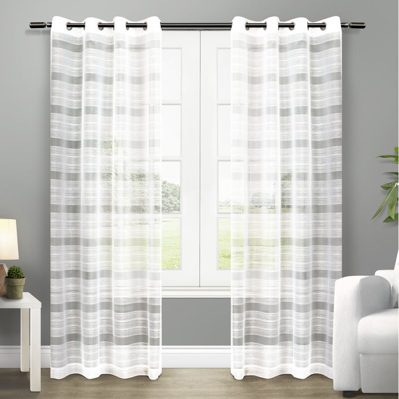 Exclusive Home Striped Sheer Grommet Curtain Panels